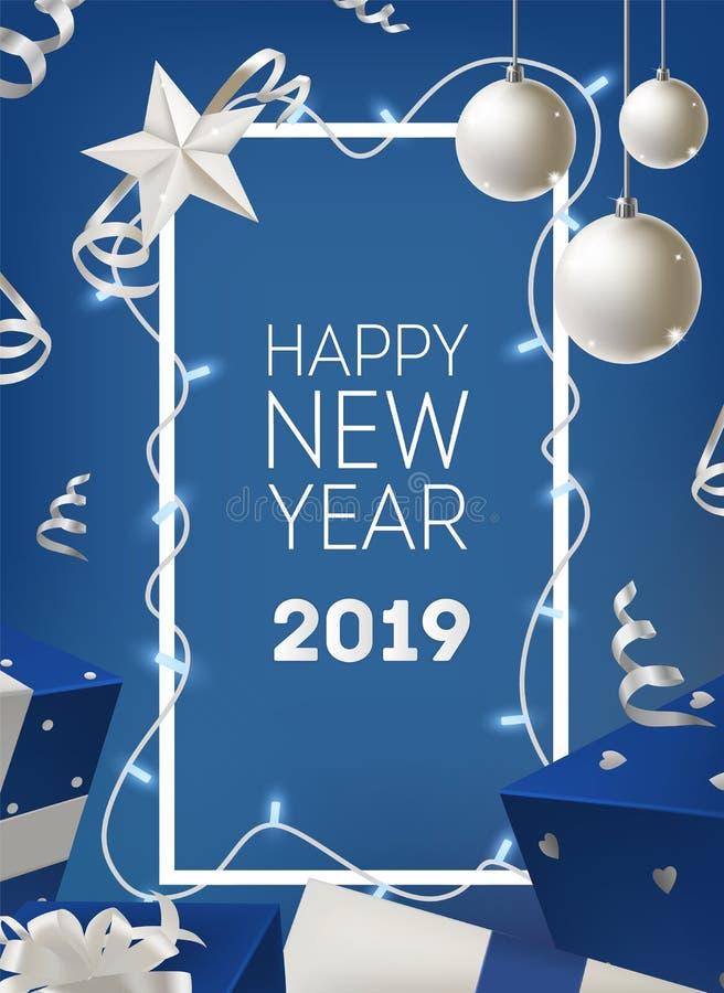 Gelukkig die de kaartmalplaatje van de Nieuwjaar 2019 groet met kader door gloeiende lichte slinger, zilveren snuisterij, giften  vector illustratie