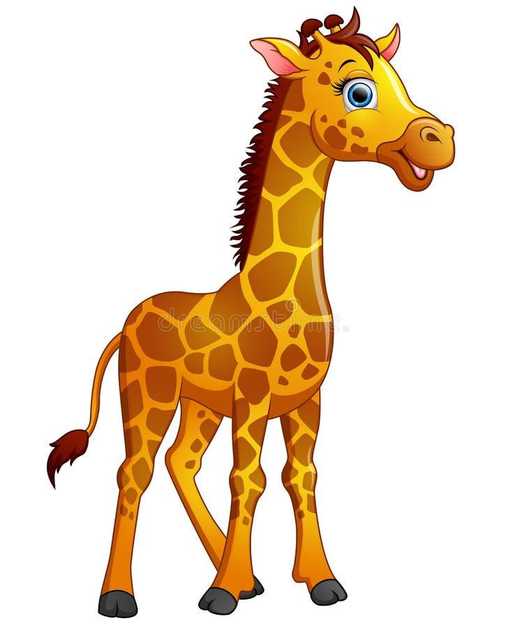 Gelukkig die girafbeeldverhaal op witte achtergrond wordt geïsoleerd royalty-vrije illustratie