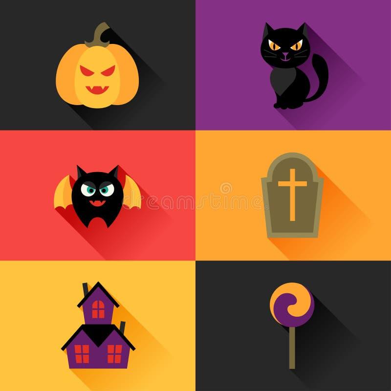 Gelukkig die Halloween-pictogram in vlakke ontwerpstijl wordt geplaatst vector illustratie