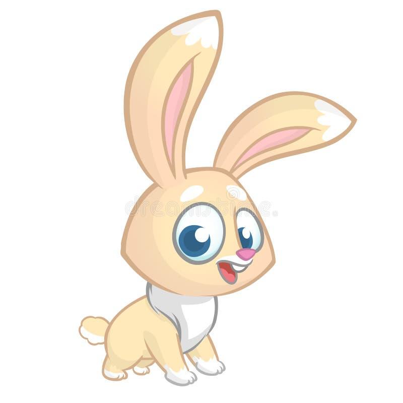 Gelukkig die konijnbeeldverhaal op witte achtergrond wordt geïsoleerd Vectorillustratie van een leuk konijntje stock illustratie