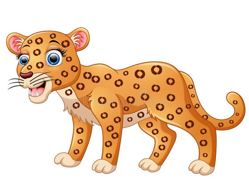 Gelukkig die luipaardbeeldverhaal op witte achtergrond wordt geïsoleerd vector illustratie