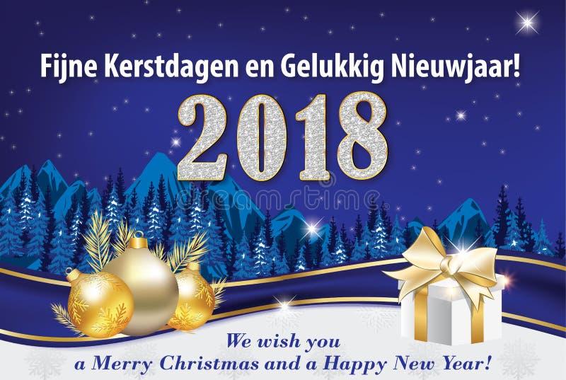 Gelukkig die Nieuwjaar in het Nederlands Engelsen wordt geschreven vector illustratie