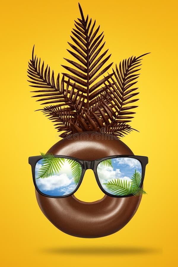 Gelukkig die pretgezicht van bruine chocoladedoughnut wordt gemaakt met zonnebril, groene tropische bladerenpalm op heldere gele  vector illustratie