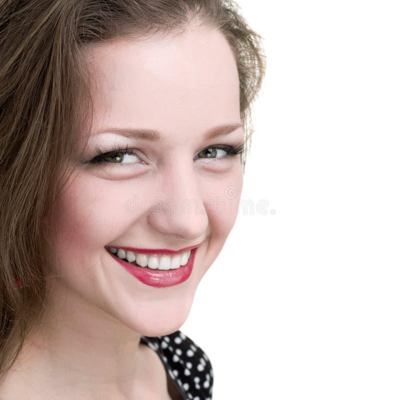 Gelukkig die vrouw het glimlachen portret over een wit wordt geïsoleerd stock fotografie