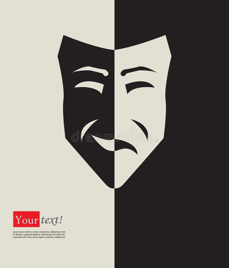 Gelukkig droevig masker stock illustratie