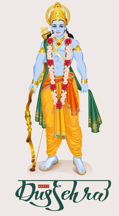 Gelukkig dussehra Hindoes festival Lord Rama-holdingsboog en pijl stock illustratie