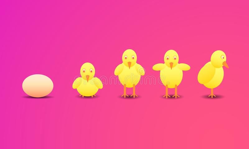 Gelukkig een Pasen-dag kip nieuw - geboren stap van eieren aan grote haankip Vector illustratie EPS10 stock illustratie