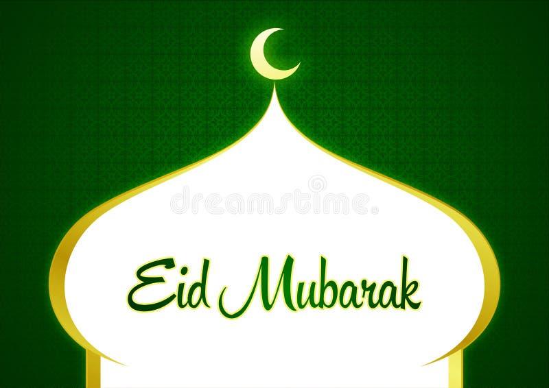 Gelukkig Eid Ramadhan Green Greeting Card met Moskee Shilloutte Crescent Moon en Sierachtergrond royalty-vrije illustratie