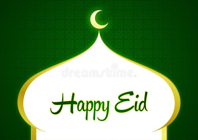 Gelukkig Eid Ramadhan Green Greeting Card met Moskee Shilloutte en Crescent Moon en Sierachtergrond vector illustratie