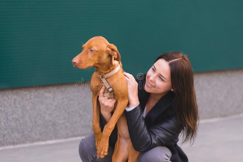 gelukkig eigenaar en huisdier bij de achtergrond van de muur De handeling koestert een hond voor een gang Liefde aan dieren royalty-vrije stock fotografie