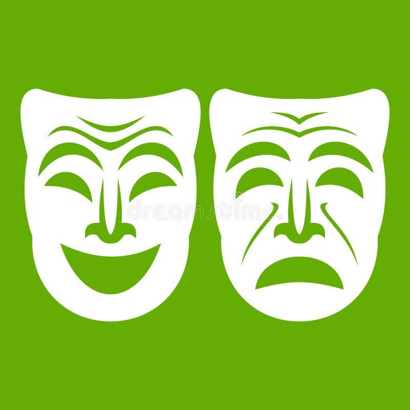 Download Gelukkig En Droevig Groen Maskerpictogram Vector Illustratie - Illustratie bestaande uit helder, kostuum: 107708904