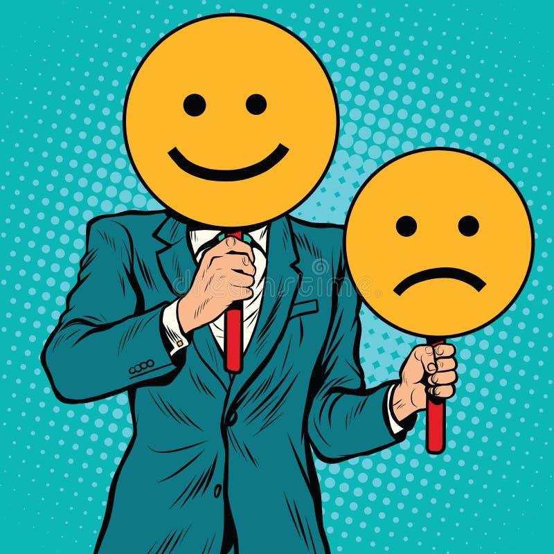 Gelukkig en droevige Smileygelaatsuitdrukkingen royalty-vrije illustratie