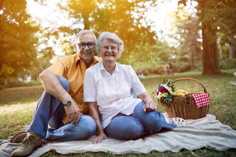 Gelukkig en knap hoger paar die van een picknick in het park genieten stock afbeeldingen