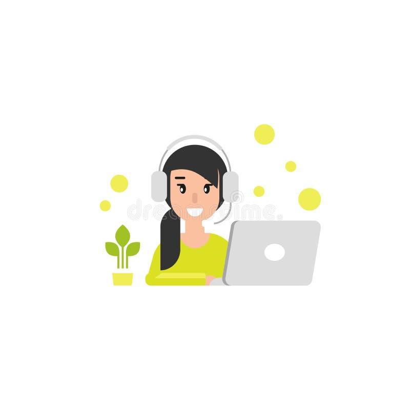 Gelukkig exploitantmeisje met computer, hoofdtelefoons en microfoon Vlakke vectorillustratie stock illustratie
