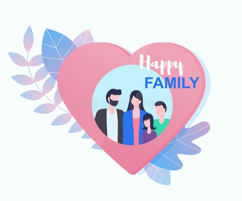 Gelukkig Familie samen Beeld in het Kader van de Hartvorm stock illustratie