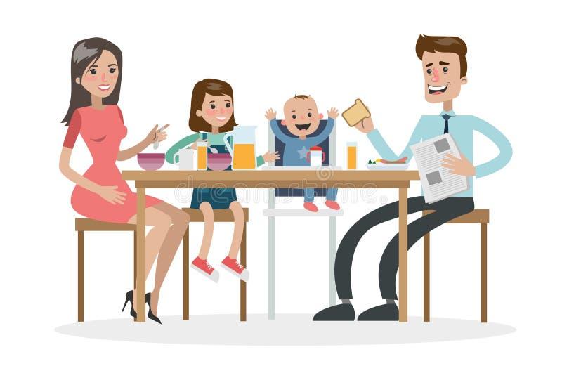 Gelukkig familieontbijt royalty-vrije illustratie