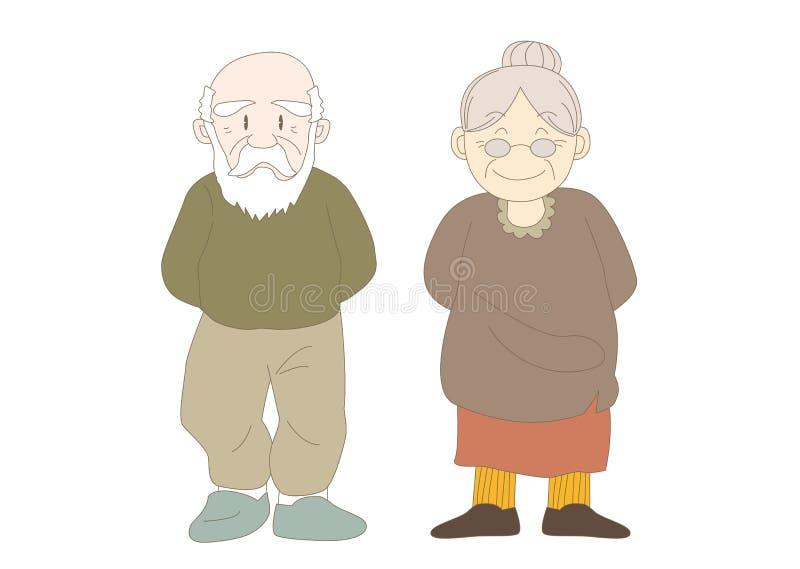 Gelukkig familiesbeeld - grootouders vector illustratie