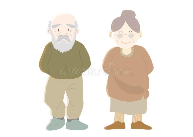Gelukkig familiesbeeld - grootouders - B royalty-vrije illustratie