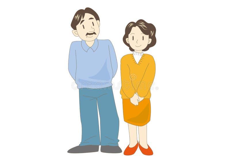 Gelukkig familiesbeeld - volwassen Paar stock illustratie