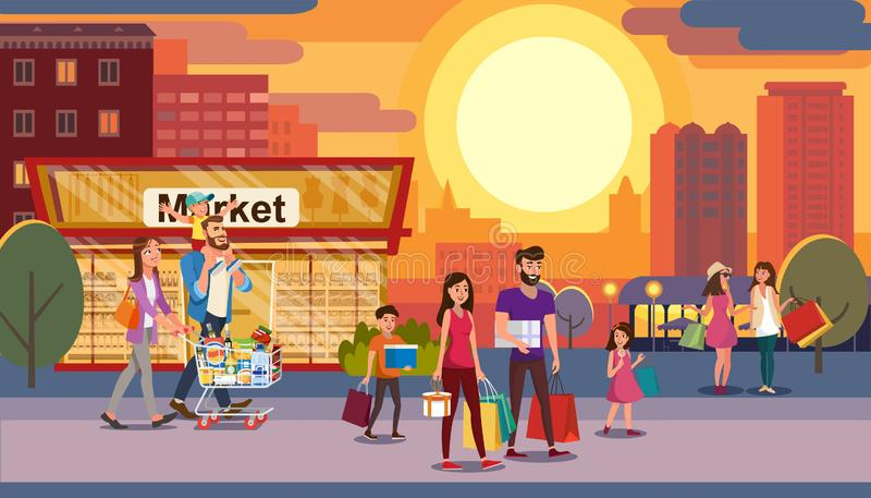 Gelukkig Familievakantie het Winkelen Vlak Vectorconcept vector illustratie