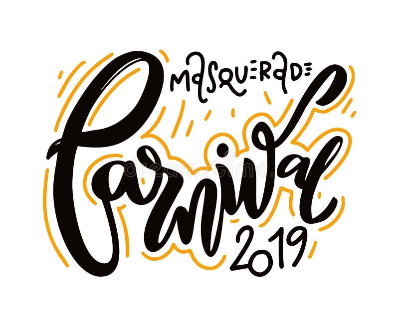Gelukkig Feestelijk Carnaval geïsoleerd op witte achtergrond Hand het getrokken van letters voorzien stock illustratie