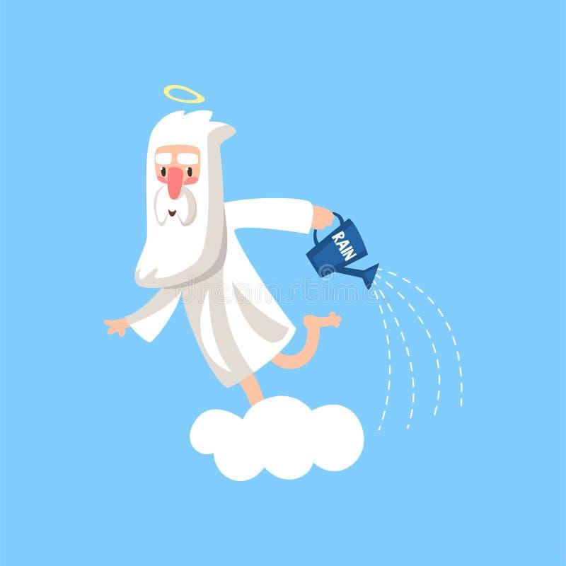 Gelukkig gebaard beeldverhaalkarakter van god op de wolk die de aarde met regen water geven Godsdienstig Concept Vector illustrat stock illustratie