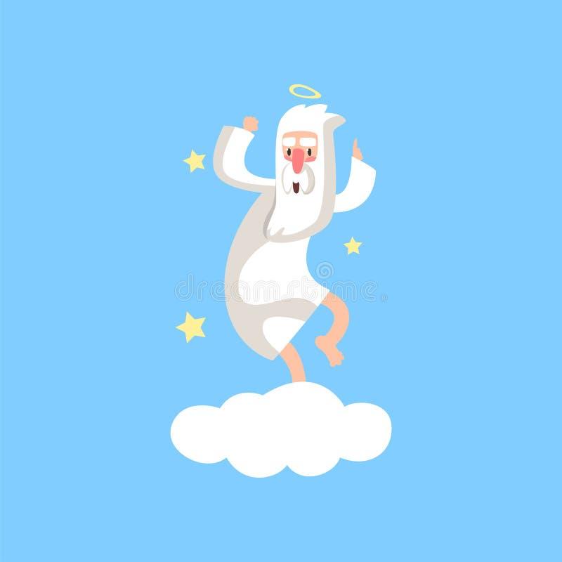 Gelukkig gebaard godskarakter die pret hebben Almachtige schepper die met halo op witte die wolk dansen met sterren wordt omringd royalty-vrije illustratie