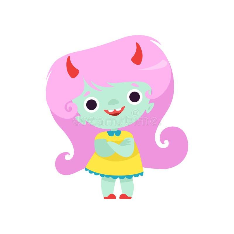 Gelukkig Gehoornd Sleeplijnmeisje, het Leuke Karakter van het Fantasieschepsel met Lange Roze Haar Vectorillustratie stock illustratie