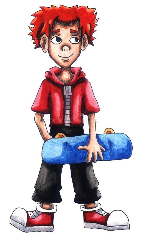 Gelukkig Ginger Skater Boy stock illustratie