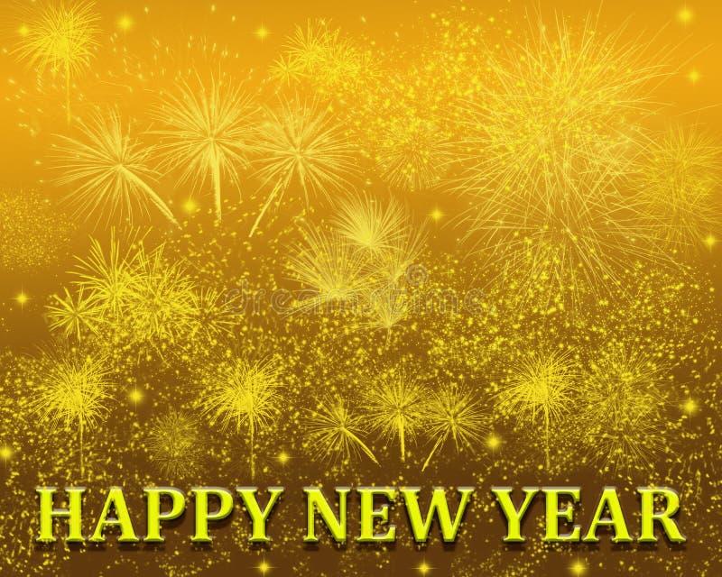 Gelukkig Glanzend de Sterrenvuurwerk van de Nieuwjaargroet stock foto's