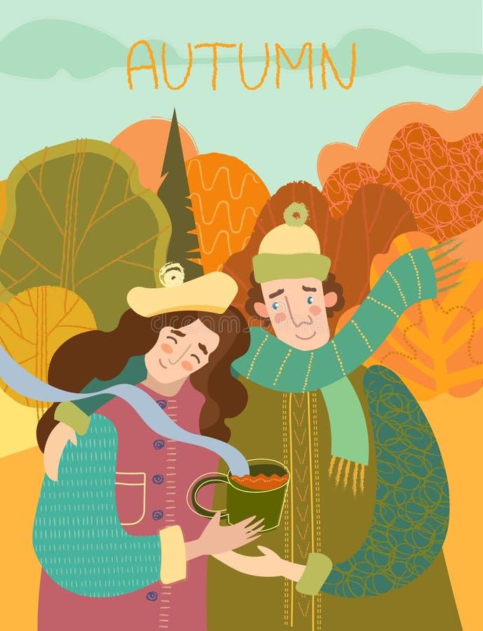 Gelukkig glimlachend houdend van paar die van hete koffie in openlucht genieten royalty-vrije illustratie
