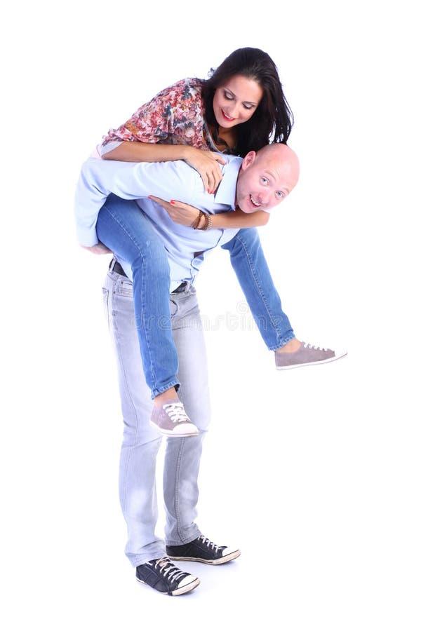 Gelukkig glimlachend paar in liefde stock foto