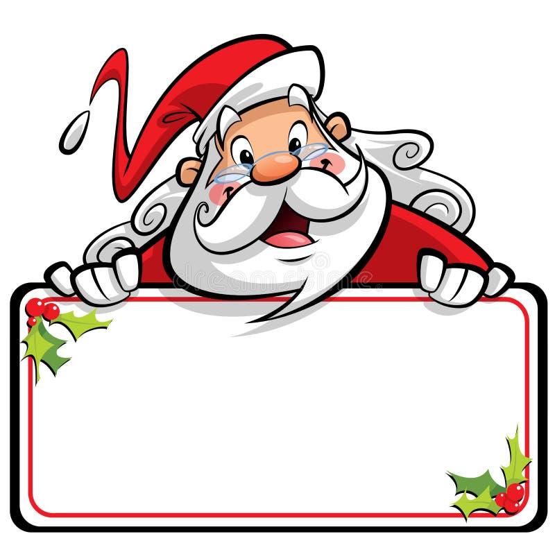 Gelukkig glimlachend Santa Claus-beeldverhaalkarakter die bericht o voorleggen royalty-vrije illustratie