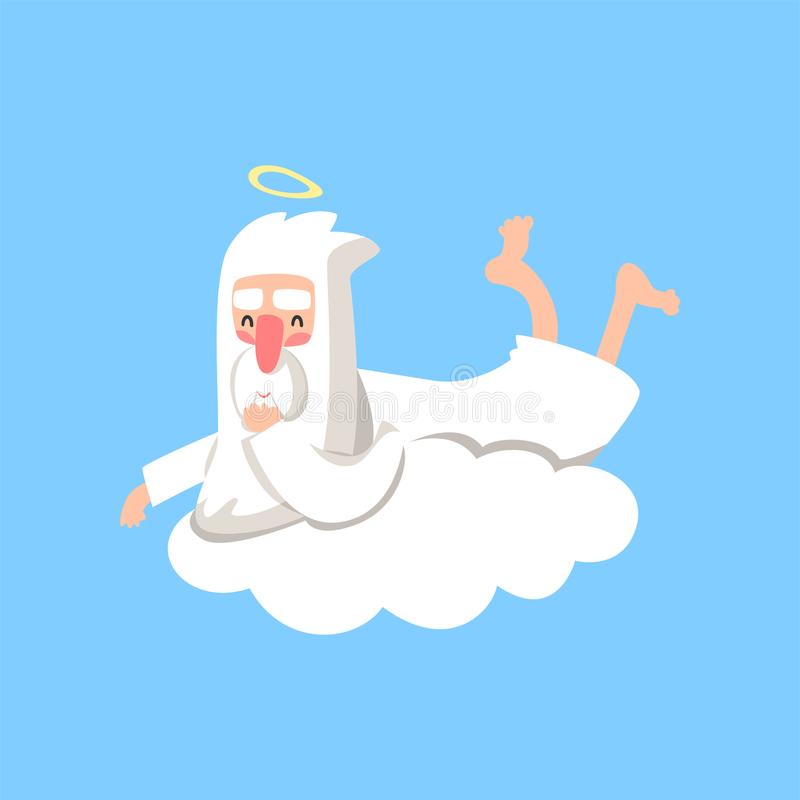 Gelukkig godskarakter die op witte wolk rusten Schepper` s dagelijks werk Christelijk godsdienstig thema Vlakke geïsoleerde vecto vector illustratie