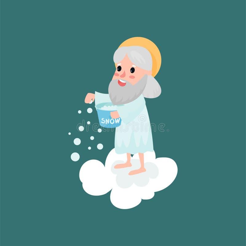 Gelukkig godskarakter die sneeuw werpen royalty-vrije illustratie