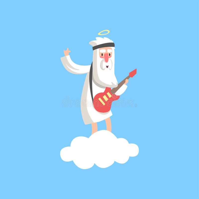 Gelukkig godskarakter die zich op pluizige witte wolk en het spelen gitaar bevinden Christelijk godsdienstig thema Vlakke vector stock illustratie