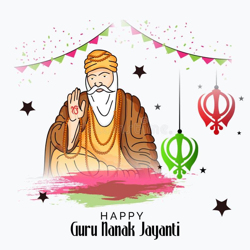 Gelukkig Guru Nanak Jayanti stock illustratie