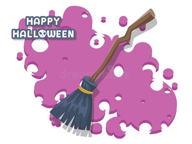Gelukkig Halloween bezem van takjes op een lange houten handvatvector wordt gemaakt op achtergrond die Vlak Ontwerp Groetkaart, p vector illustratie