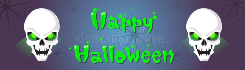 Gelukkig Halloween-de Banner Eng Gezicht van het Schedel Menselijk Hoofdspook royalty-vrije illustratie