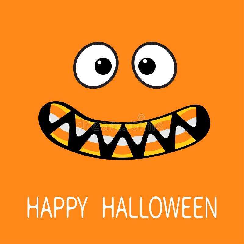Gelukkig Halloween De enge emoties van het monstergezicht stock illustratie
