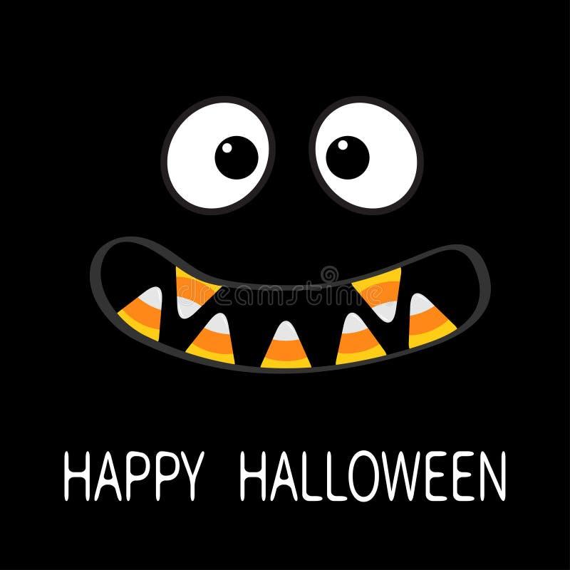 Gelukkig Halloween De enge emoties van het monstergezicht De hoektand van de vampiertand royalty-vrije illustratie