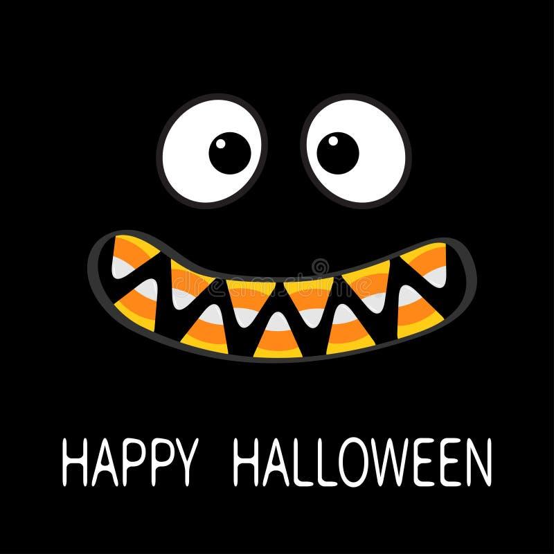 Gelukkig Halloween De enge emoties van het monstergezicht De hoektand van de vampiertand stock illustratie