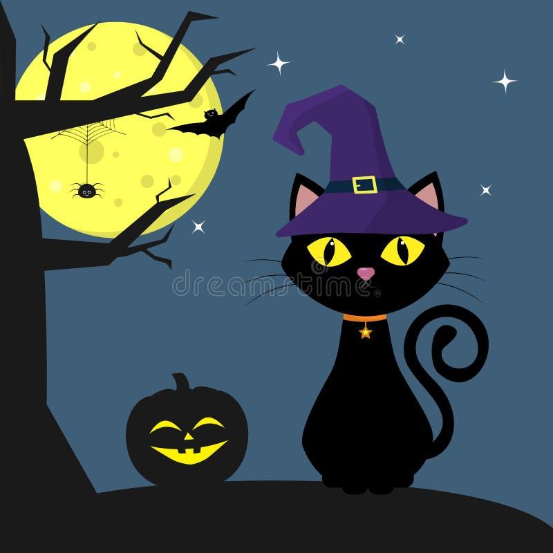 Gelukkig Halloween De Halloween-katten heks-hoed zit naast de pompoen Een boom, een spin, een volle maan bij nacht Vliegende vamp stock illustratie