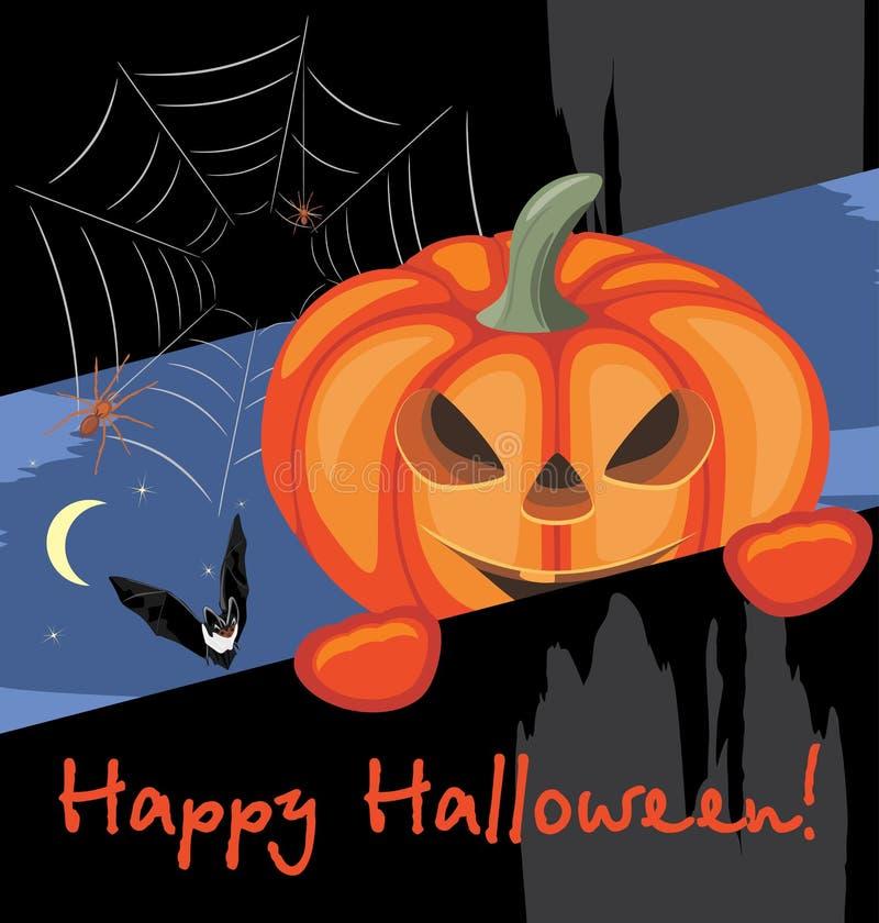 Gelukkig Halloween De prentbriefkaar van de groet vector illustratie