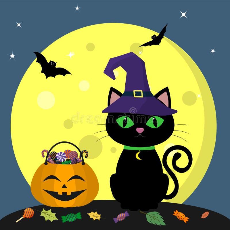 Gelukkig Halloween Een Halloween-kat in een heksenhoed zit naast een pompoen met snoepjes wordt gevuld dat Volle maan bij nacht f stock illustratie