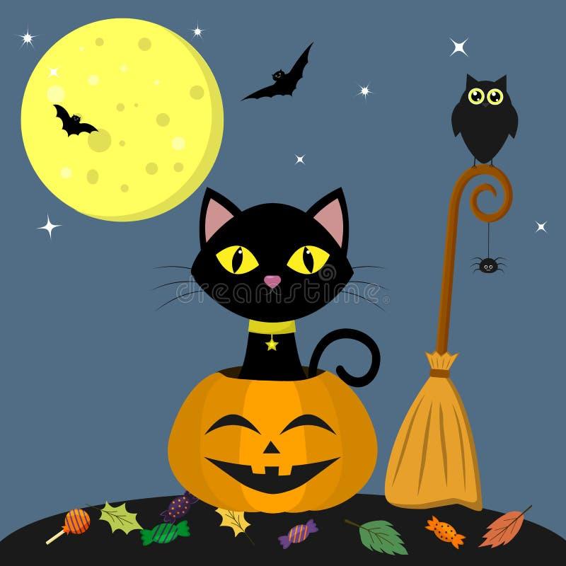 Gelukkig Halloween Een zwarte kat zit in een pompoen Dichtbij de bezem, uil, spin Volle maan bij nacht, knuppels, bladeren en vector illustratie
