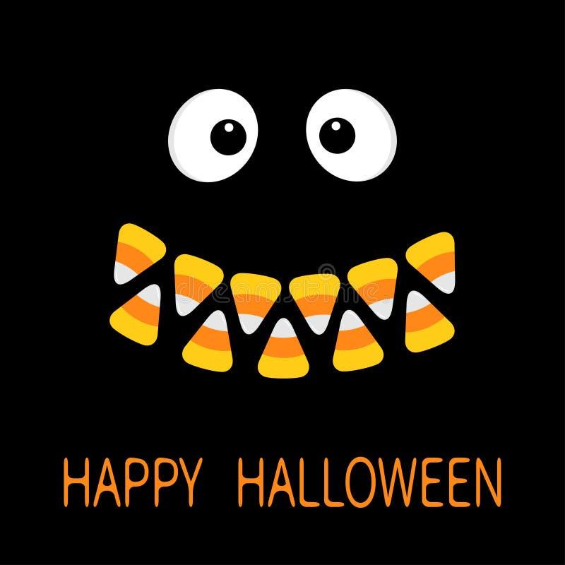 Gelukkig Halloween Enge gezicht het glimlachen emoties Grote ogen, de tanden van de het graanglimlach van het mondsuikergoed De h vector illustratie