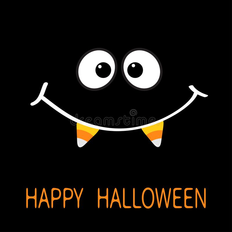 Gelukkig Halloween Enge gezicht het glimlachen emoties Grote ogen, mondglimlach met de hoektand van de de Vampiertand van het sui vector illustratie