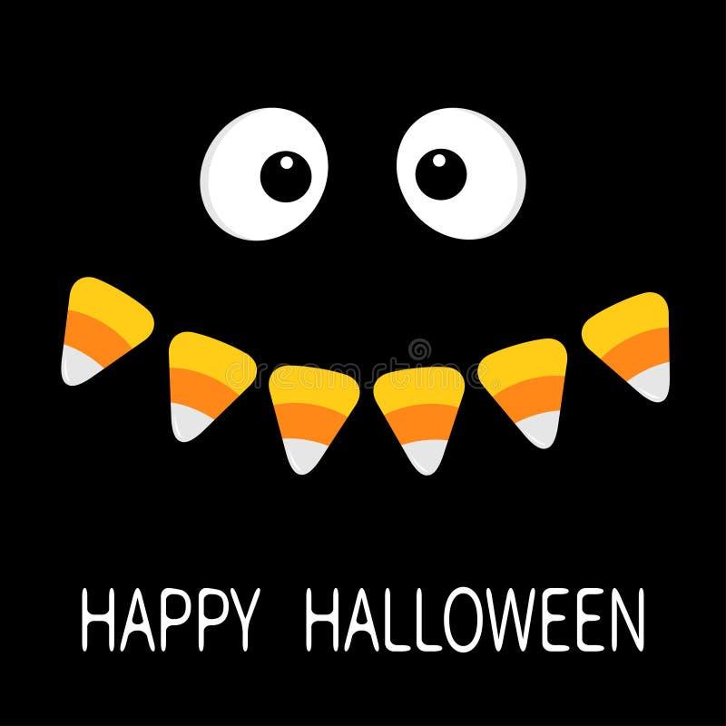 Gelukkig Halloween Enge gezicht het glimlachen emoties Grote ogen, van de het graanglimlach van het mondsuikergoed de hoektand va stock illustratie