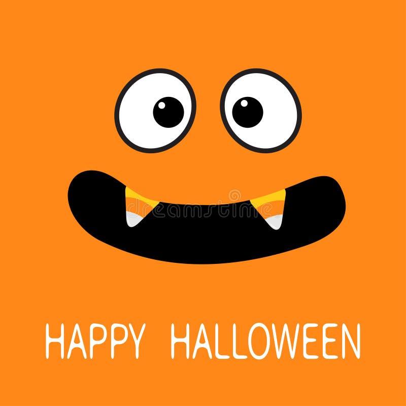 Gelukkig Halloween Enge gezichtsemoties Grote ogen, mond met de hoektand van de de Vampiertand van het suikergoedgraan De groetka royalty-vrije illustratie